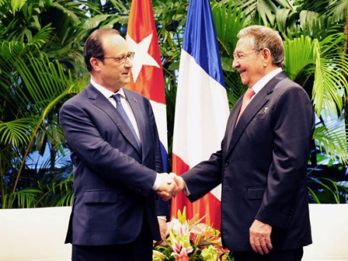 Raúl Castro und Francois Hollande