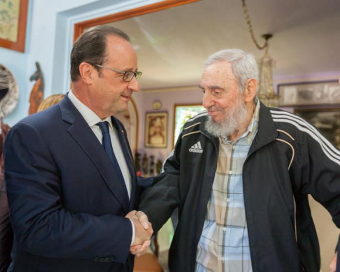 Französischer Präsident besucht Fidel