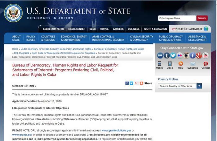 Bekannmachung des US-Außenministeriums