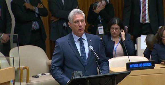 Díaz-Canel bei seiner Rede beim Treffen auf hoher Ebene der UNO-Vollversammlung