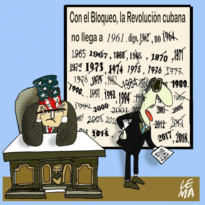 Karikatur aus Kuba zur US-Blockade