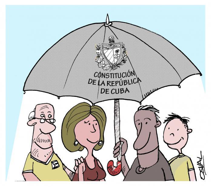 Karikatur Osval: Verfassung Kubas