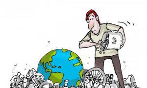 Karikatur: Vermüllung