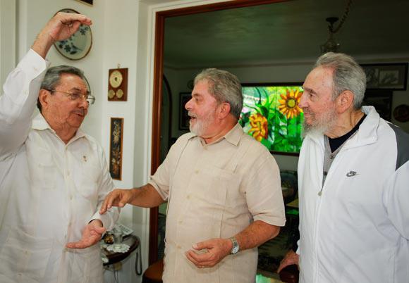 Lula, Fidel und Raul