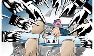 Karikatur gegen die Blockade: Adán